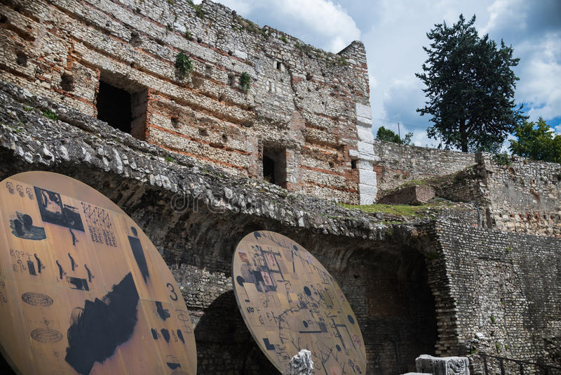 Museum of the Roman ruins and Santa Giulia royalty free stock images
