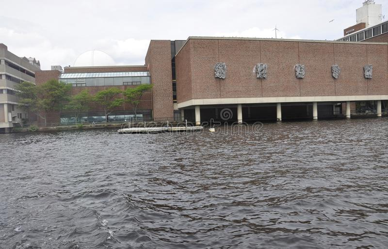Museum of Science building view from Charles river in Boston Massachusettes State of USA. On 30th June 2017 royalty free stock photography