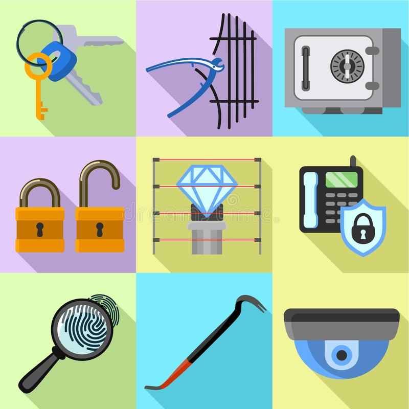 Museum security icon set, flat style. Museum security icon set. Flat set of 9 museum security vector icons for web design isolated on white background stock illustration