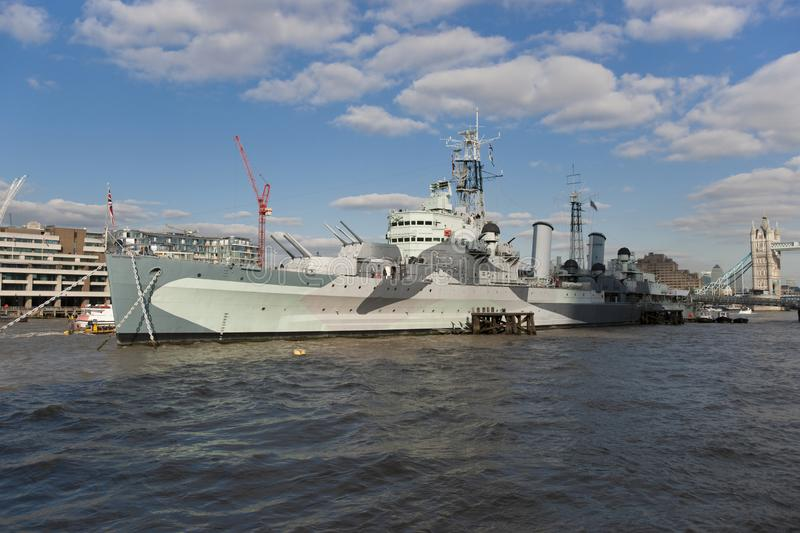 Museum Ship HMS Belfast of the Imperial War Museum moored on the River Thames, London, UK - 20th September 2013 stock image