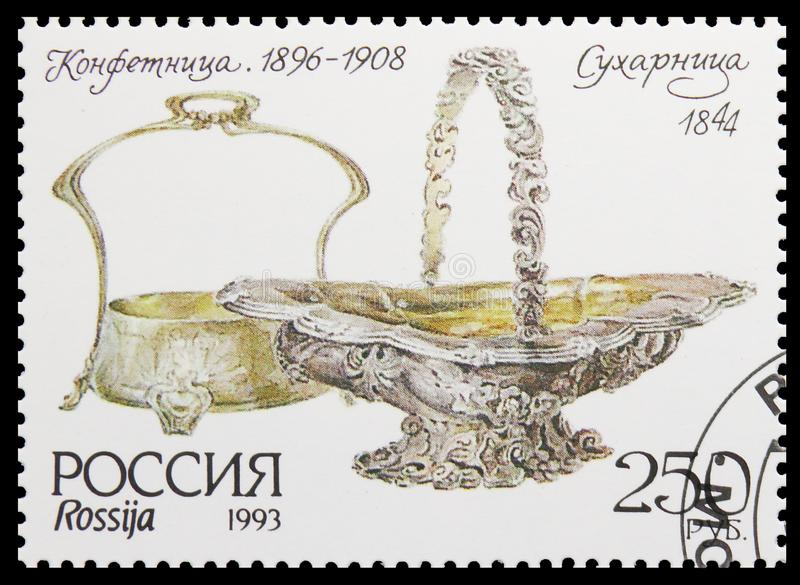 Museum Silverware, Biscuit dish and Sweet dish, Museum Items serie, circa 1993. MOSCOW, RUSSIA - AUGUST 10, 2019: Postage stamp printed in Russia shows Museum stock image