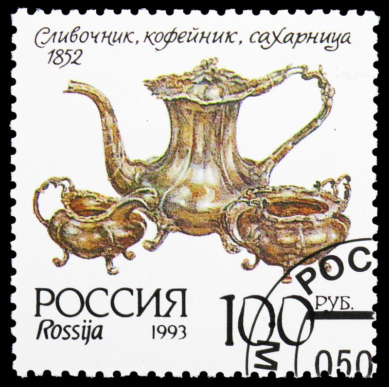 Museum silverware, Cream jug, coffee pot and sugar basin, Museum Items serie, circa 1993. MOSCOW, RUSSIA - AUGUST 10, 2019: Postage stamp printed in Russia shows stock images