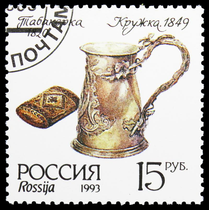 Museum silverware, Snuff box and Tankard, Museum Items serie, circa 1993. MOSCOW, RUSSIA - AUGUST 10, 2019: Postage stamp printed in Russia shows Museum royalty free stock photos