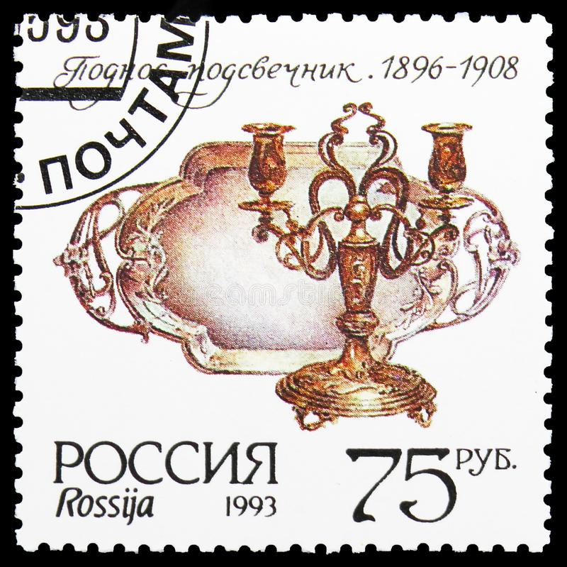 Museum silverware, Tray and candlestick, Museum Items serie, circa 1993. MOSCOW, RUSSIA - AUGUST 10, 2019: Postage stamp printed in Russia shows Museum stock photo