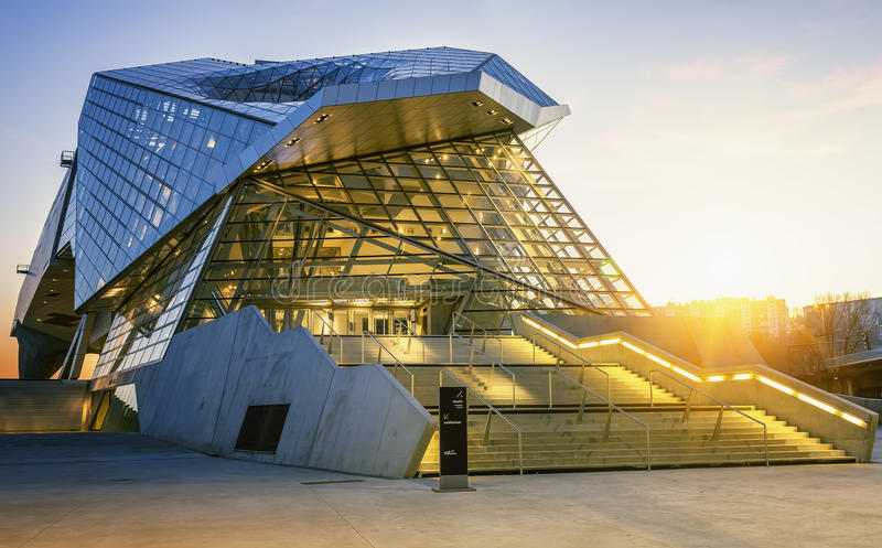 Museum at sunset. LYON, FRANCE, DECEMBER 22, 2014 : Musee des Confluences. Musee des Confluences is located at the confluence of the Rhone and the Saone rivers stock photos