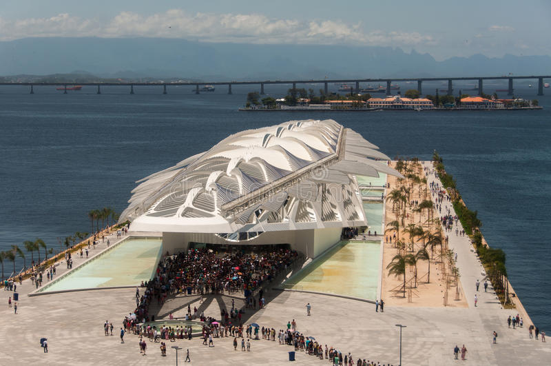Museum of Tomorrow. Rio de Janeiro, Brazil - January 6, 2016: Museum of Tomorrow in the newly rebuilt Maua Square is the latest attraction of the city stock photo
