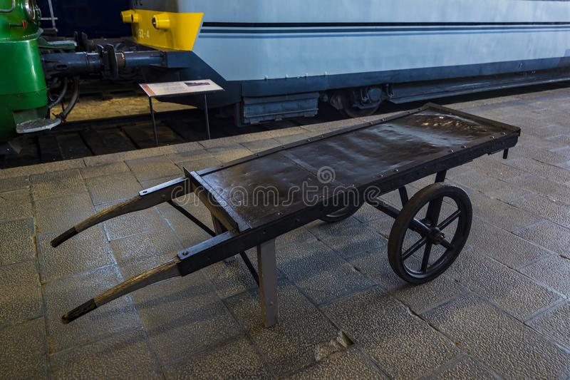 Museum of trains Madrid exposition of railway equipment service equipment and history of development. MADRID, SPAIN - 27 MARCH, 2018: Museum of trains Madrid stock photo