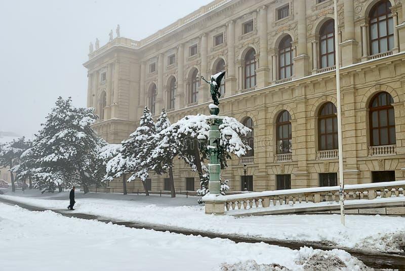Museum van Beeldende kunsten in Wenen, linkerhoek van de ingang stock afbeelding