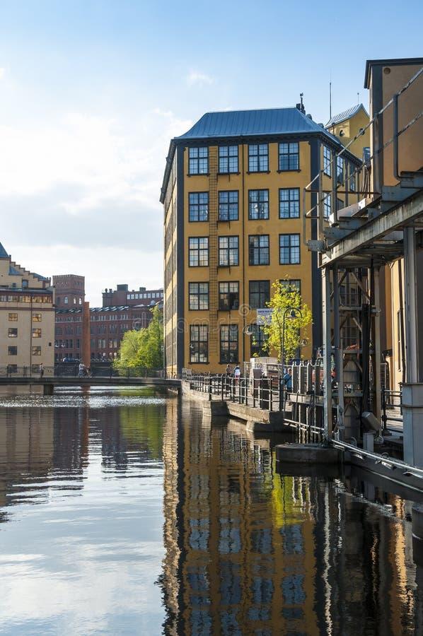 Museum van het werk industrieel landschap Norrkoping royalty-vrije stock afbeelding
