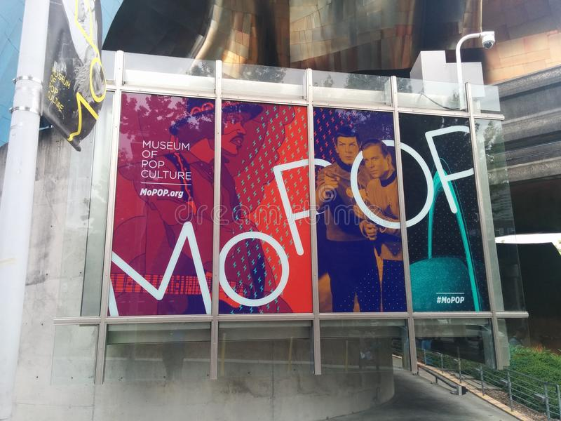 Museum van Pop teken van Cultuurmopop in Seattle royalty-vrije stock afbeelding