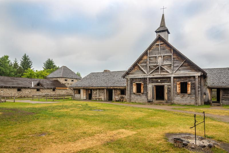 Museum van Sainte Marie onder Hurons dichtbij Binnenland in Canada royalty-vrije stock afbeelding