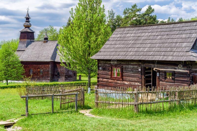 Museum van volksarchitectuur in Stara Lubovna, Slowakije royalty-vrije stock foto's