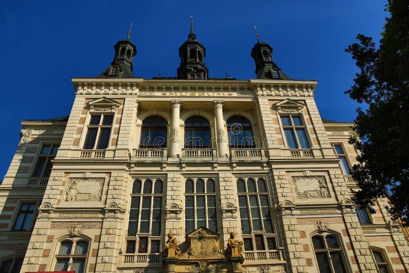 Museum van West-Bohemen in Pilsen, Oude architectuur, Pilsen, Tsjechische Republiek royalty-vrije stock afbeeldingen