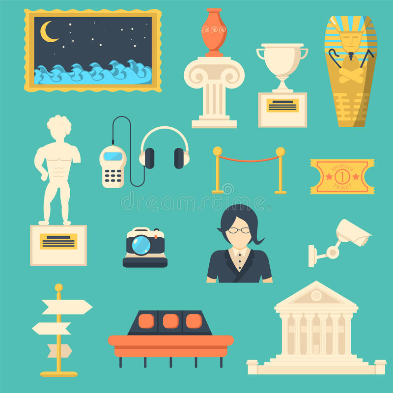 Museum vector icons set with sculpture, antique and culture symbols vector illustration
