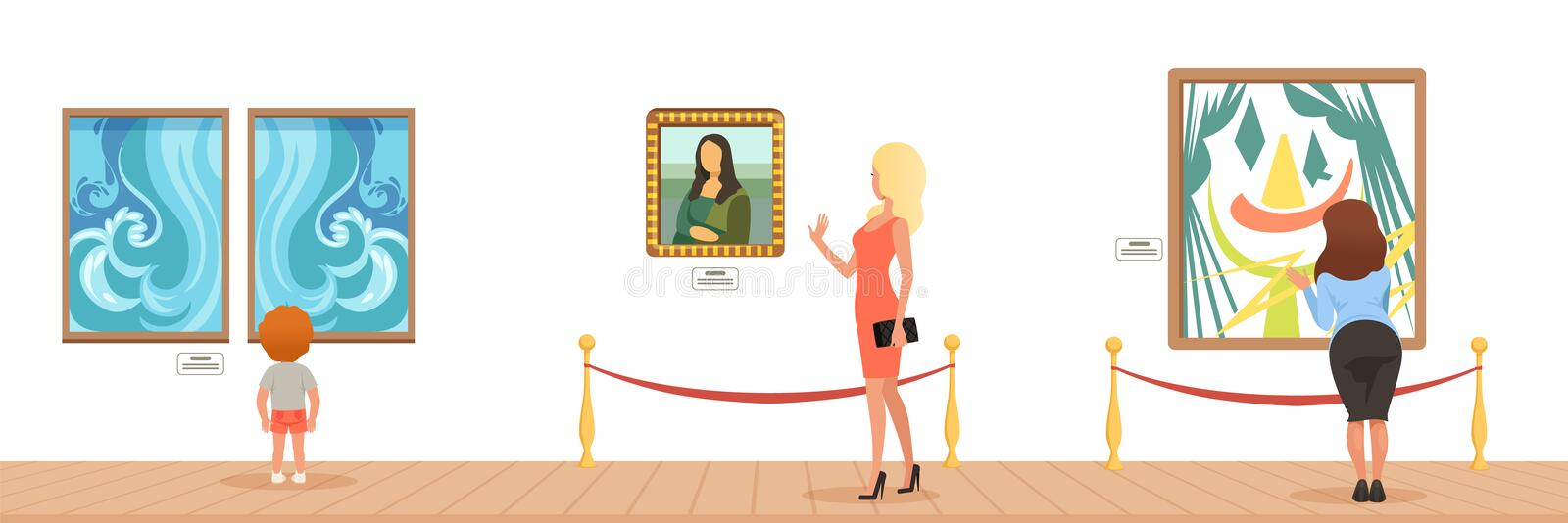 Museum visitors looking at paintings hanging on gallery wall, people attending museum horizontal vector Illustration. In flat style vector illustration