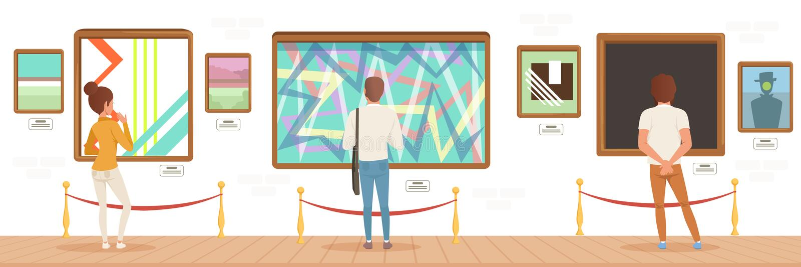 Museum visitors standing in modern art gallery in front of colorful paintings, people attending museum horizontal vector. Illustration in flat style stock illustration