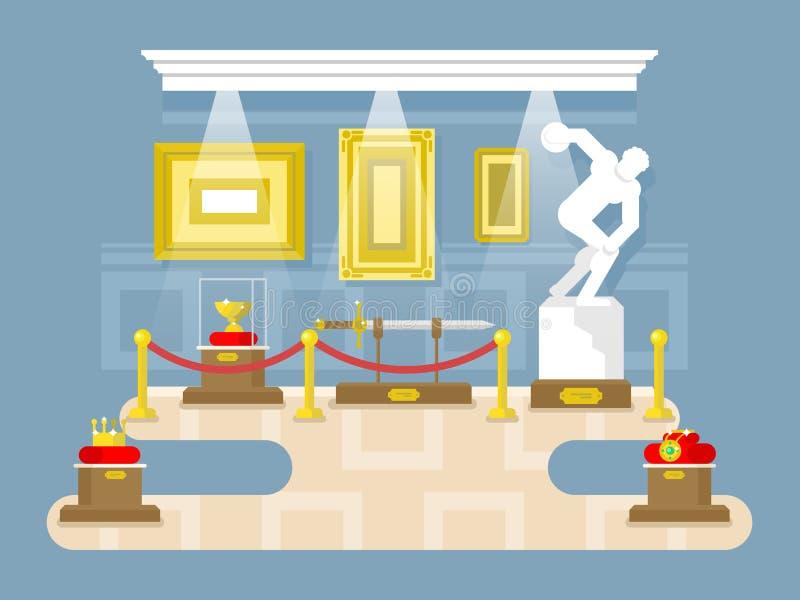 Museum vlak ontwerp stock illustratie