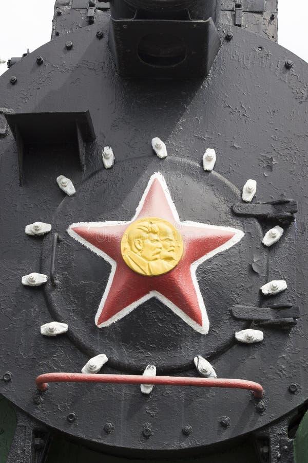 Museum voor Spoorwegtechnologie Novosibirsk Oude, Sovjetspoorweglocomotief, stoomtrein Novosibirsk, Rusland royalty-vrije stock foto's