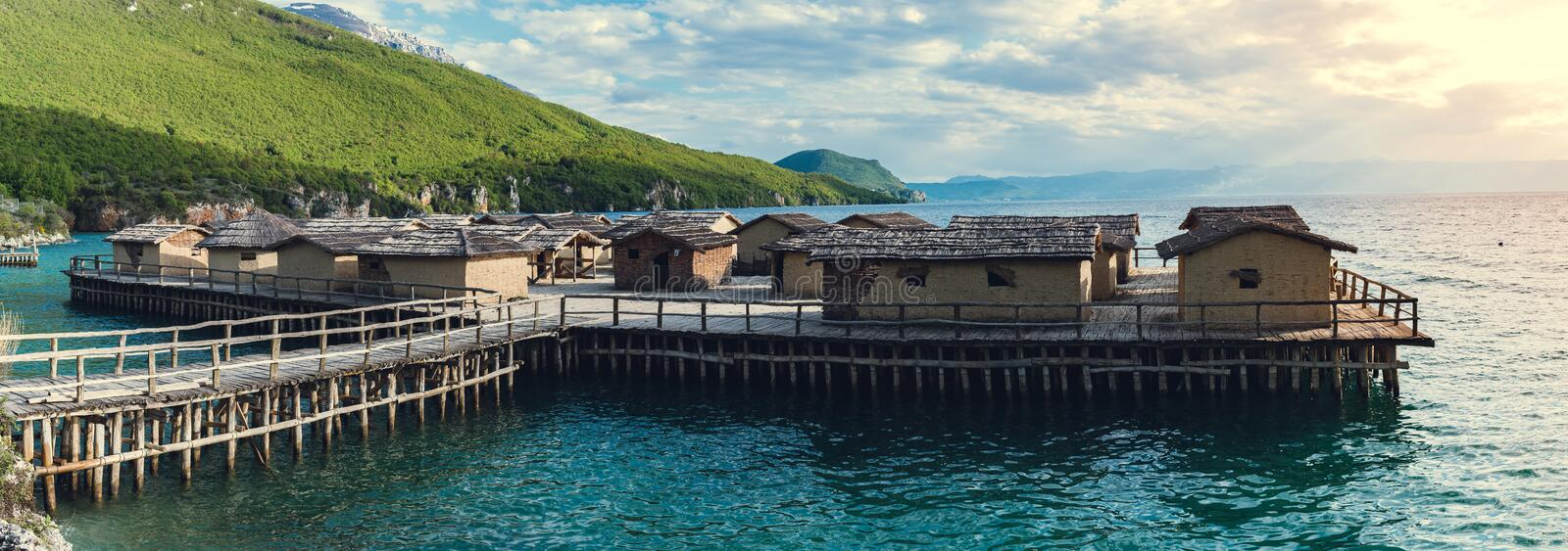 Museum on the water, fisherman village  - landscape iconic view. Panorama stock photos