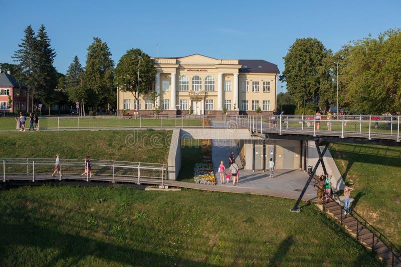 Museum of Zarasai region. Zarasai, Lithuania - July 25, 2015: Tourists are visiting Zarasas lake observation bridge and Museum of Zarasai region on July 25, 2015 royalty free stock photo