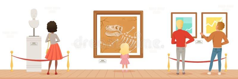Museumbezoekers die klassieke kunstwerken bekijken, mensen die museum horizontale vectorillustratie bijwonen stock illustratie