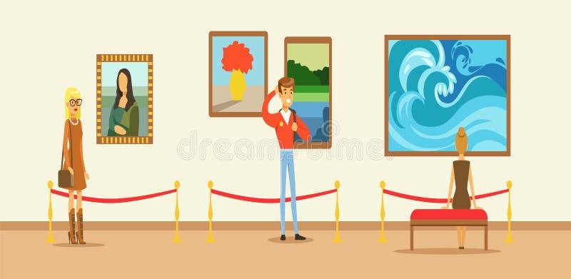 Museumbezoekers die schilderen bekijken die op galerijmuur hangen, mensen die museum bekijken royalty-vrije illustratie