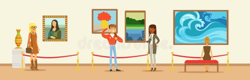 Museumbezoekers die schilderen bekijken die op galerijmuur hangen, mensen die museumtentoongesteld voorwerp bekijken royalty-vrije illustratie