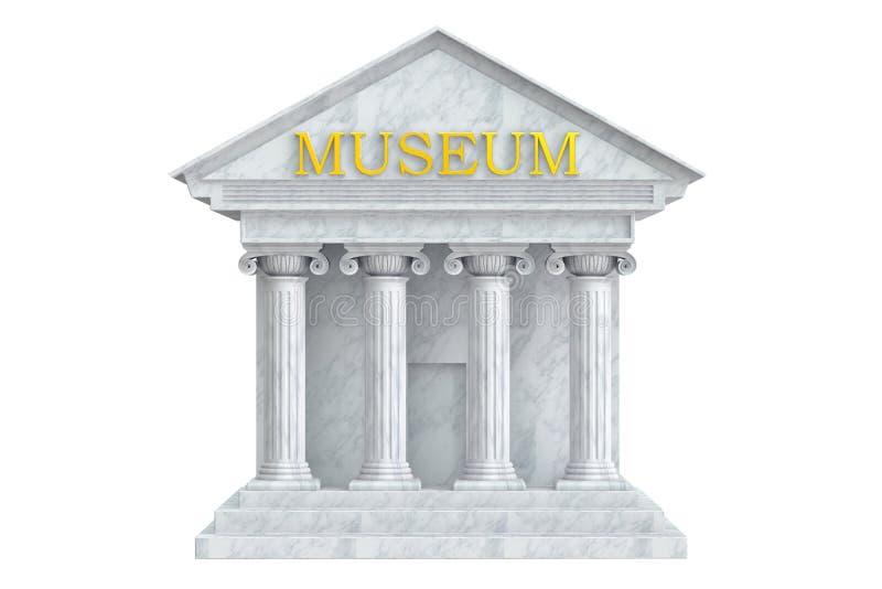 Museumbyggnad med kolonner stock illustrationer