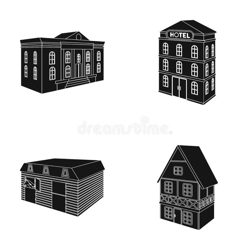 Museumbyggnaden, ettberättelse hotell, ett stall på racerbanan, en bostads- stuga Arkitektonisk byggnadsuppsättning royaltyfri illustrationer