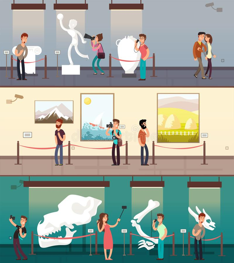 Museumgalerij met kunstbeelden, tentoongesteld voorwerp en geplaatste kinderen vectorbanners stock illustratie