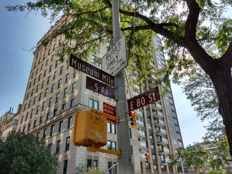 Museummil, 5th aveny på gatan för öst 80th, gatatecken, scenisk gränsmärke för Central Park, östlig sida för Upper, Manhattan, NY arkivbild