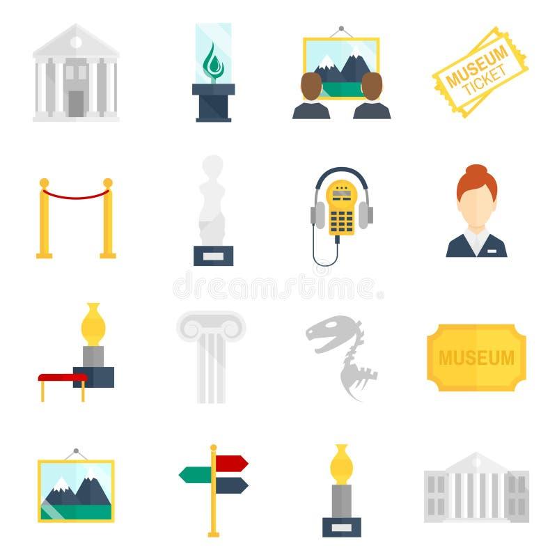 Museums-Ikonen flach vektor abbildung