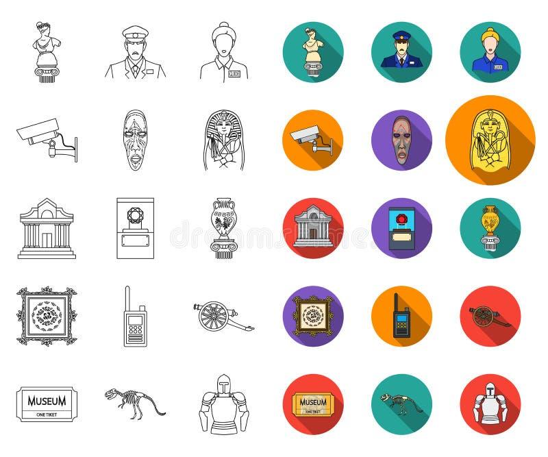Museums- und Galerieentwurf, flache Ikonen in gesetzter Sammlung für Entwurf Lagerung und Ausstellung des Paradebeispielvektorsym lizenzfreie abbildung