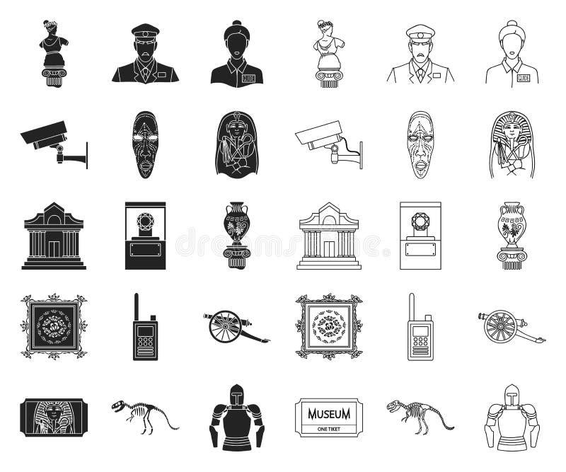 Museums- und Galerieschwarzes, Entwurfsikonen in gesetzter Sammlung für Entwurf Lagerung und Ausstellung des Paradebeispielvektor vektor abbildung