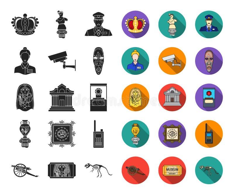 Museums- und Galerieschwarzes, flache Ikonen in gesetzter Sammlung für Entwurf Lagerung und Ausstellung des Paradebeispielvektors stock abbildung