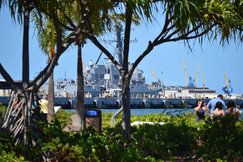 Museumschip USS Missouri Parel Harbon Oahu, Hawaï, de V.S., EEUU royalty-vrije stock afbeelding