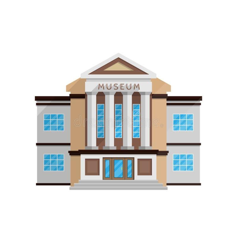 Museumsgebäude in der flachen Art lokalisiert auf weißem Hintergrund vektor abbildung