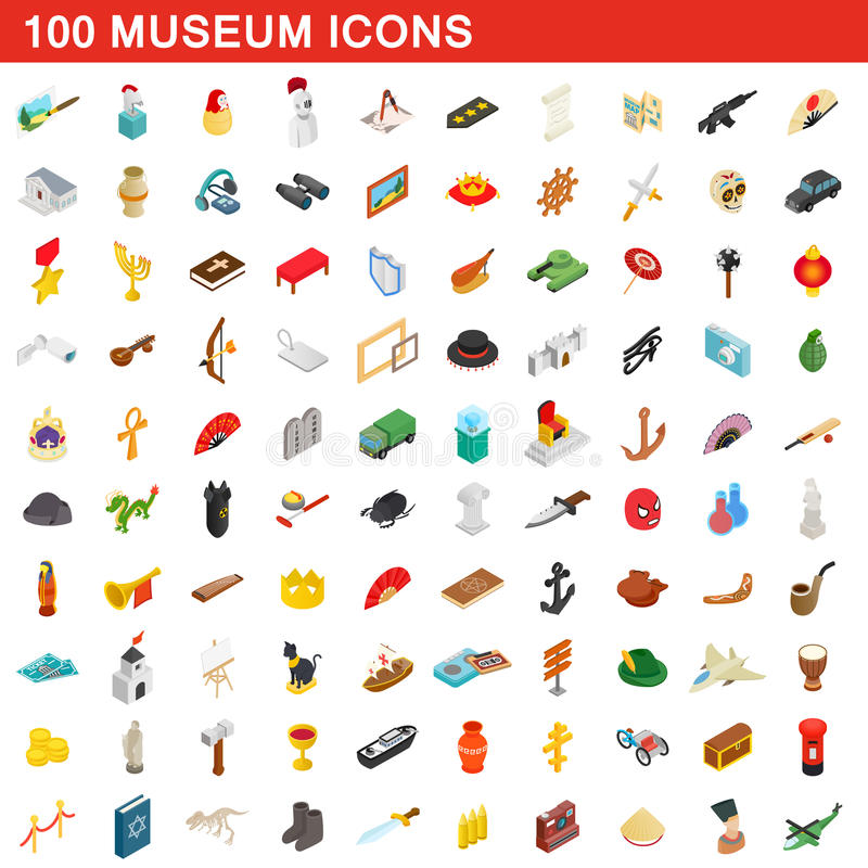 100 Museumsikonen eingestellt, isometrische Art 3d stock abbildung