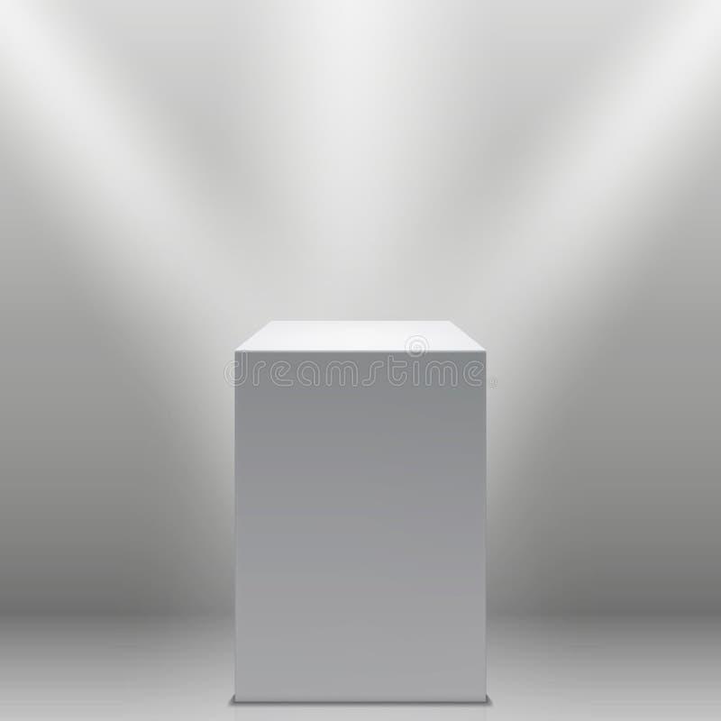 Museumsockel, vitt tomt podium 3d och strålkastarevektorillustration vektor illustrationer