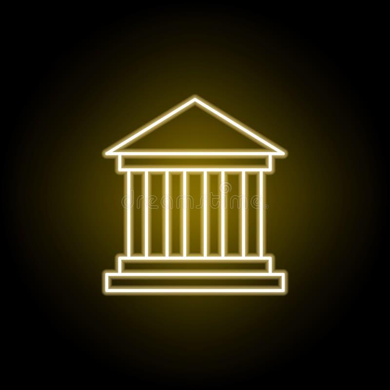 museumsymbol i neonstil Best?ndsdel av loppillustrationen Tecknet och symboler kan anv?ndas f?r reng?ringsduken, logoen, den mobi royaltyfri illustrationer