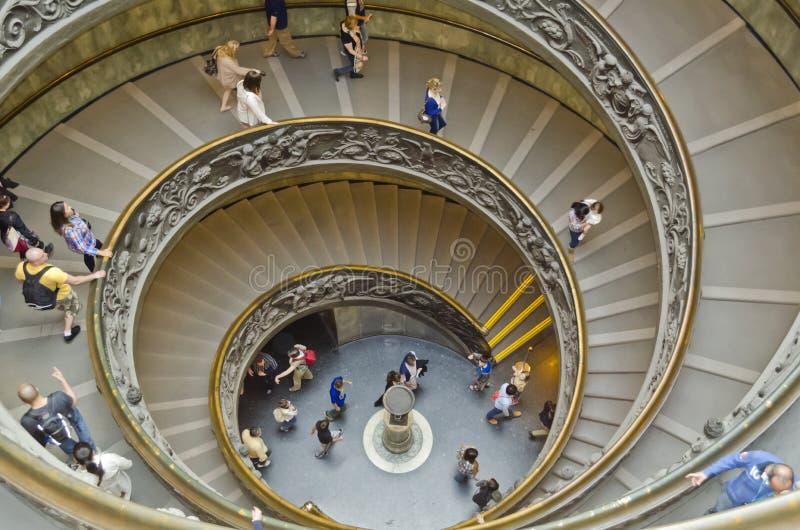 museumtrappuppgång vatican royaltyfri foto