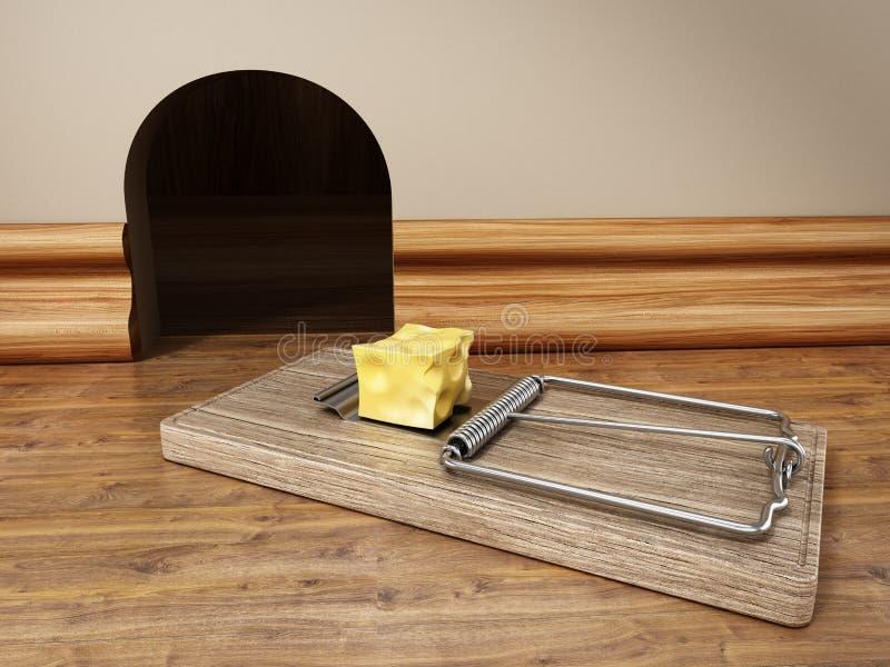 Musfälla med ett stycke av ost som framme står av mushålet illustration 3d royaltyfri illustrationer