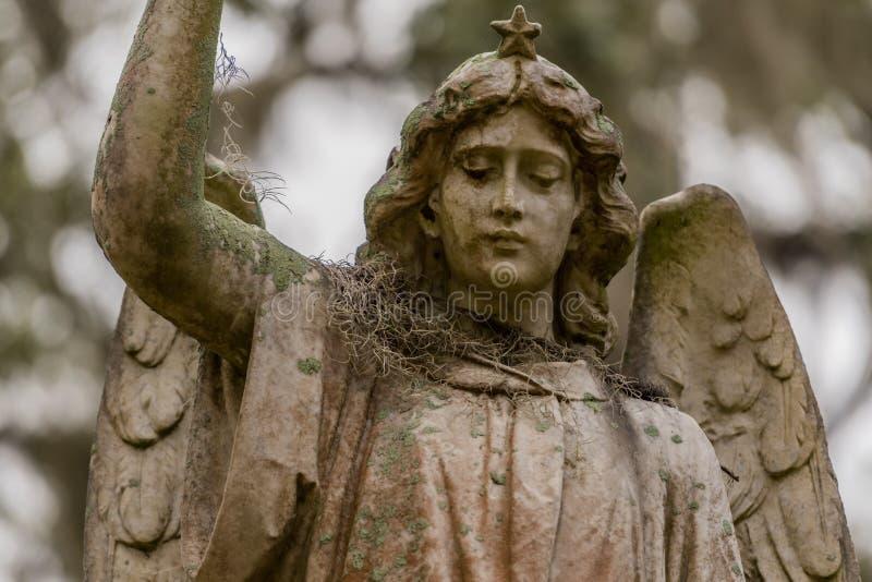 Musgo espanhol no ombro de Angel Statue imagens de stock royalty free