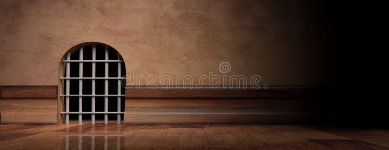 Mushålfängelse med stålstänger, baner, kopieringsutrymme illustration 3d royaltyfri illustrationer