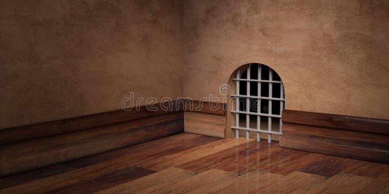 Mushålfängelse med stålstänger, tomt rum, kopieringsutrymme illustration 3d royaltyfri illustrationer