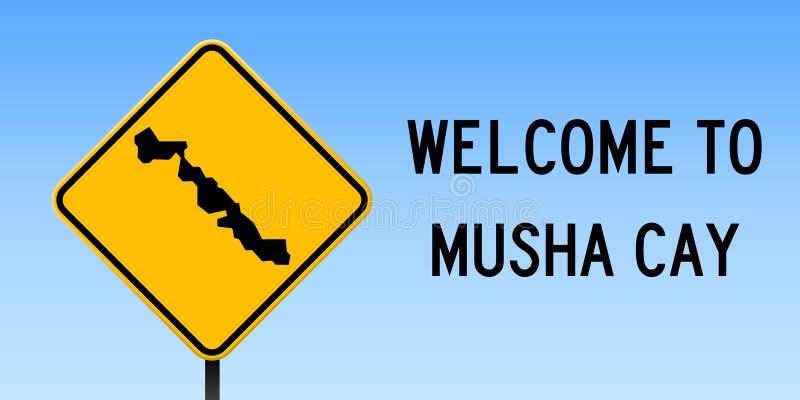 Mushacay kaart op verkeersteken stock illustratie
