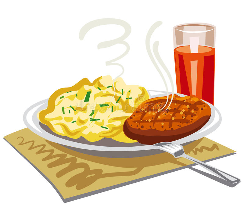 Mushed potatoes with cutlet. Illustration of mushed potatoes with roasted cutlet royalty free illustration