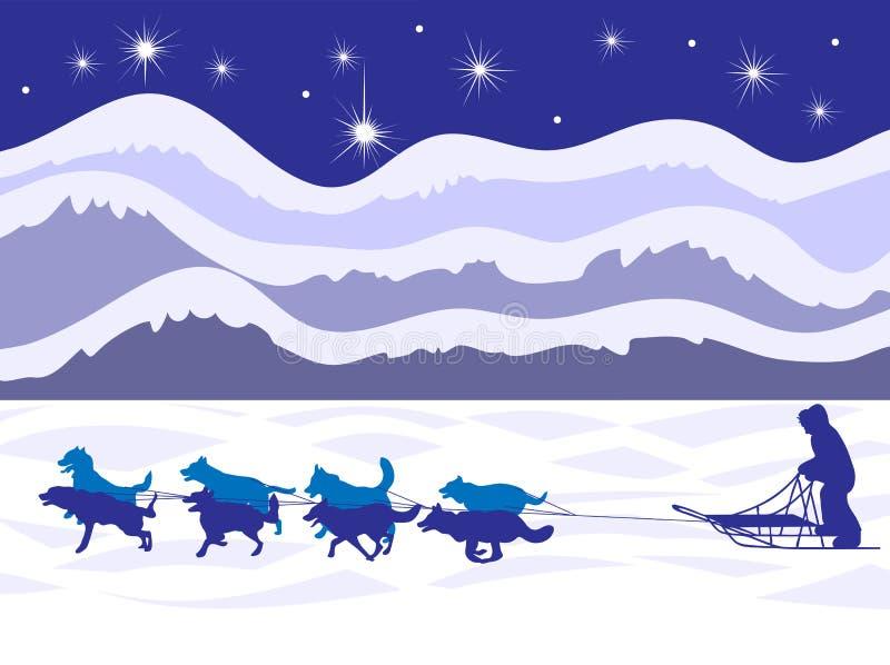 Musher und Hundeteam durch Mondschein lizenzfreie abbildung
