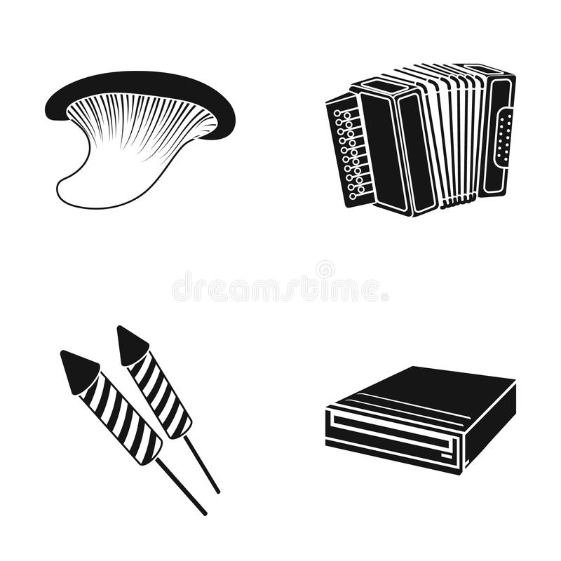 Mushroom, accordion and other web icon in black style. petard, dvd-rom icons in set collection. Mushroom, accordion and other icon in black style. petard, dvd royalty free illustration