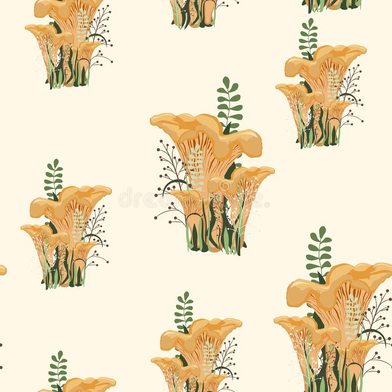 Mushroom autumn seamless pattern with forest wild mushrooms and herbs. vector illustration